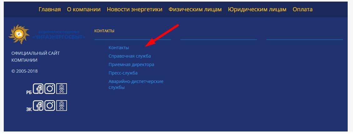 Контакты Читаэнергосбыт
